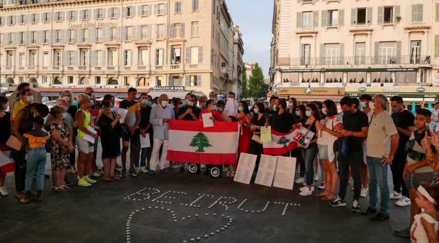 Rassemblement suite à l'explosion à Beyrouth